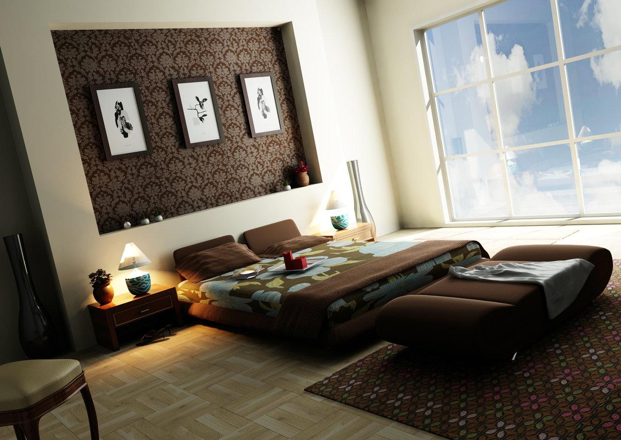 Луксозна спалня в кафяво